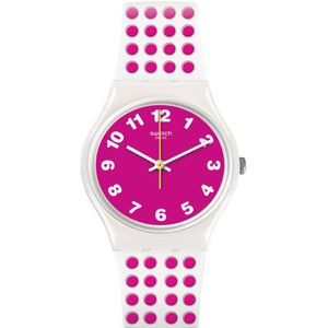 Swatch Vibe Pinkdots Women's Quartz Pink Dial Silicone Strap Watch GW190