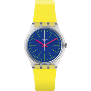 Swatch Vibe Accecante Unisex Quartz Blue Dial Silicone Strap Watch GE255