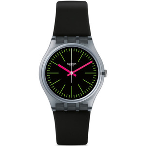 Swatch Vibe Fluo Loopy Women's Quartz Black Dial Silicone Strap Watch GM189