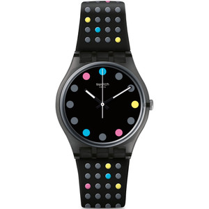 Swatch Vibe Boule A Facette Unisex Quartz Black Dial Silicone Strap Watch GB305