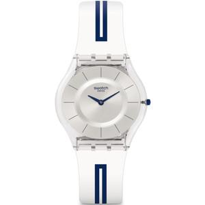 Swatch Skin Classic Mediolino Unisex Quartz Silver Dial Silicone Strap Watch SFE112
