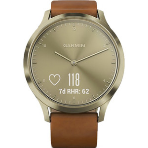 Garmin Vivomove Heart Rate Golden Dial Leather Strap Hybrid Smartwatch 010-01850-05