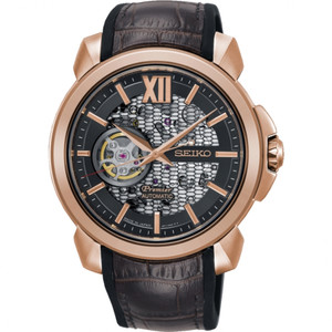 Seiko Premier Novak Djokovic Limited Edition Automatic Skeleton Rose Gold Watch SSA374J1