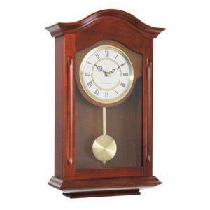 London Clock Solid Wood Walnut Finish Traditional Pendulum Wall Clock 25054