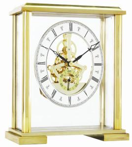 London Clock Gold Square Top Skeleton Mantel Clock 02085