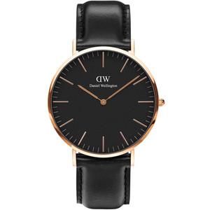 Daniel Wellington Men's Classic Black Sheffield Quartz Black Dial Leather Strap Watch DW00100127