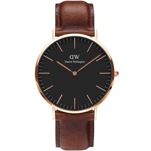 Daniel Wellington Men's Classic Black ST Mawes Quartz Black Dial Leather Strap Watch DW00100124