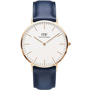 Daniel Wellington Men's Classic Somerset Quartz Eggshell White Dial Leather Strap Watch DW00100121