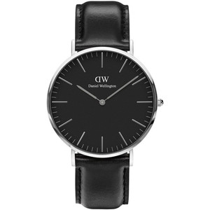 Daniel Wellington Men's Classic Black Sheffield Quartz Black Dial Leather Strap Watch DW00100133