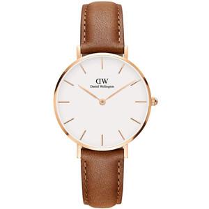 Daniel Wellington Women's Classic Petite Durham Quartz Eggshell White Dial Leather Strap Watch DW00100172