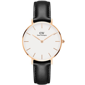 Daniel Wellington Women's Classic Petite Sheffield Quartz Eggshell White Dial Leather Strap Watch DW00100174