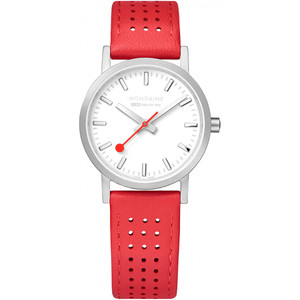 Mondaine Women's Classic White Dial Red Leather Strap 30mm Swiss Railways Watch A658.30323.16SBC