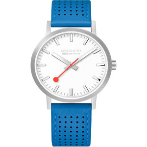 Mondaine Men's Classic White Dial Blue Leather Strap 40mm Swiss Railways Watch A660.30360.16SBD