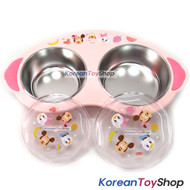 Disney Mickey Mouse Baby Stainless Steel 2 Bowls Food Tray Handle Lid Nonslip P