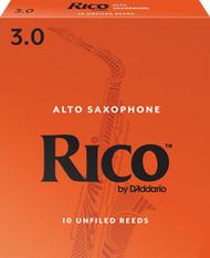 D'Addario Rico Alto Saxophone Reeds, Strength 3.0, 10-pack