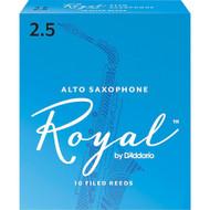 D'Addario Rico Royal Bb Alto Sax Reeds, Strength 2.5, 10-pack