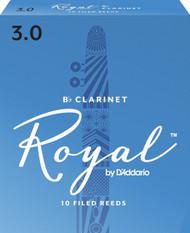 D'Addario Rico Royal Bb Clarinet Reeds, Strength 3.0, 10-pack