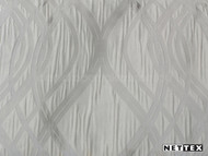 Nettex Eloquent Whimsy Pewter (MG15)  | Curtain Fabric - Grey, Silver, Midcentury, Ogee, Pattern, Synthetic, Transitional, Domestic Use, Plisse, Standard Width