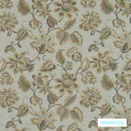 Warwick Aryana Mist  | Upholstery Fabric - Australian Made, Craftsman, Fiber blend, Floral, Garden, Jacobean, Linen and Linen Look, Tan, Taupe, Traditional, Washable, Domestic Use