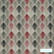 Warwick Aspire Flame  | Upholstery Fabric - Red, Diaper, Eclectic, Geometric, Midcentury, Synthetic, Washable, Diamond - Harlequin, Domestic Use, Halo, Lattice, Trellis