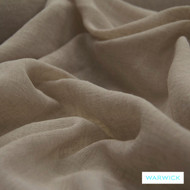 Warwick Chios Corfu Flax  | Curtain Sheer Fabric - Brown, Plain, Synthetic, Transitional, Washable, Domestic Use, Weighted Hem, Wide Width