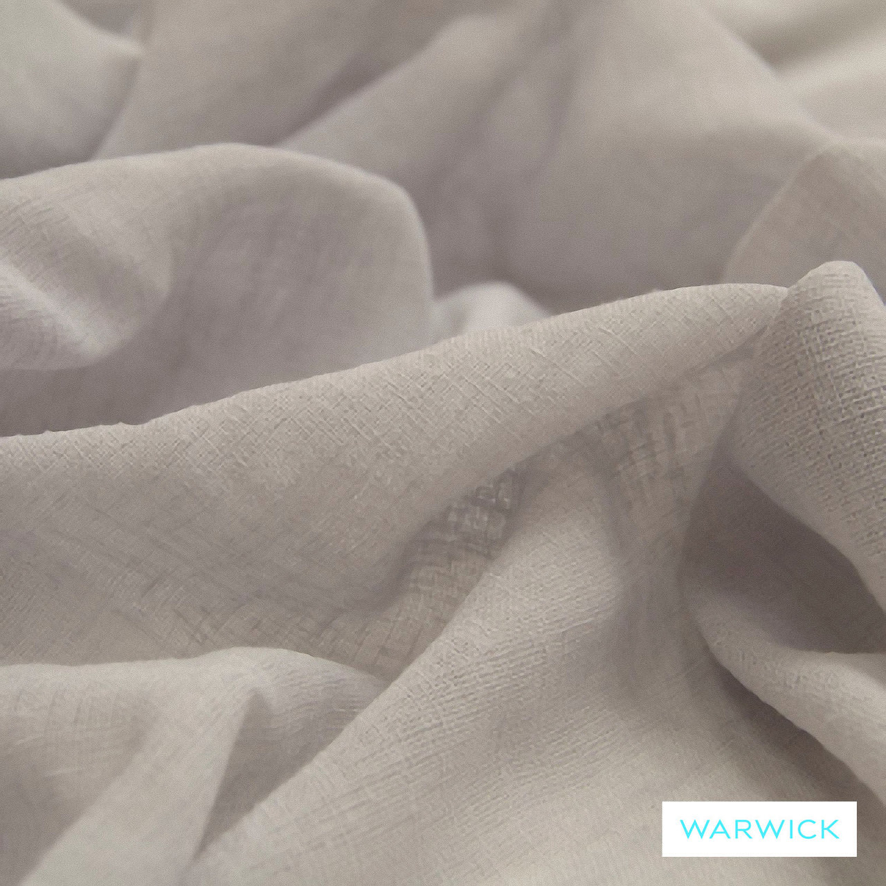 Warwick Chios Corfu Mist  | Curtain Sheer Fabric - Metallic, Plain, White, Synthetic, Washable, Domestic Use, Metal, White, Weighted Hem, Wide Width