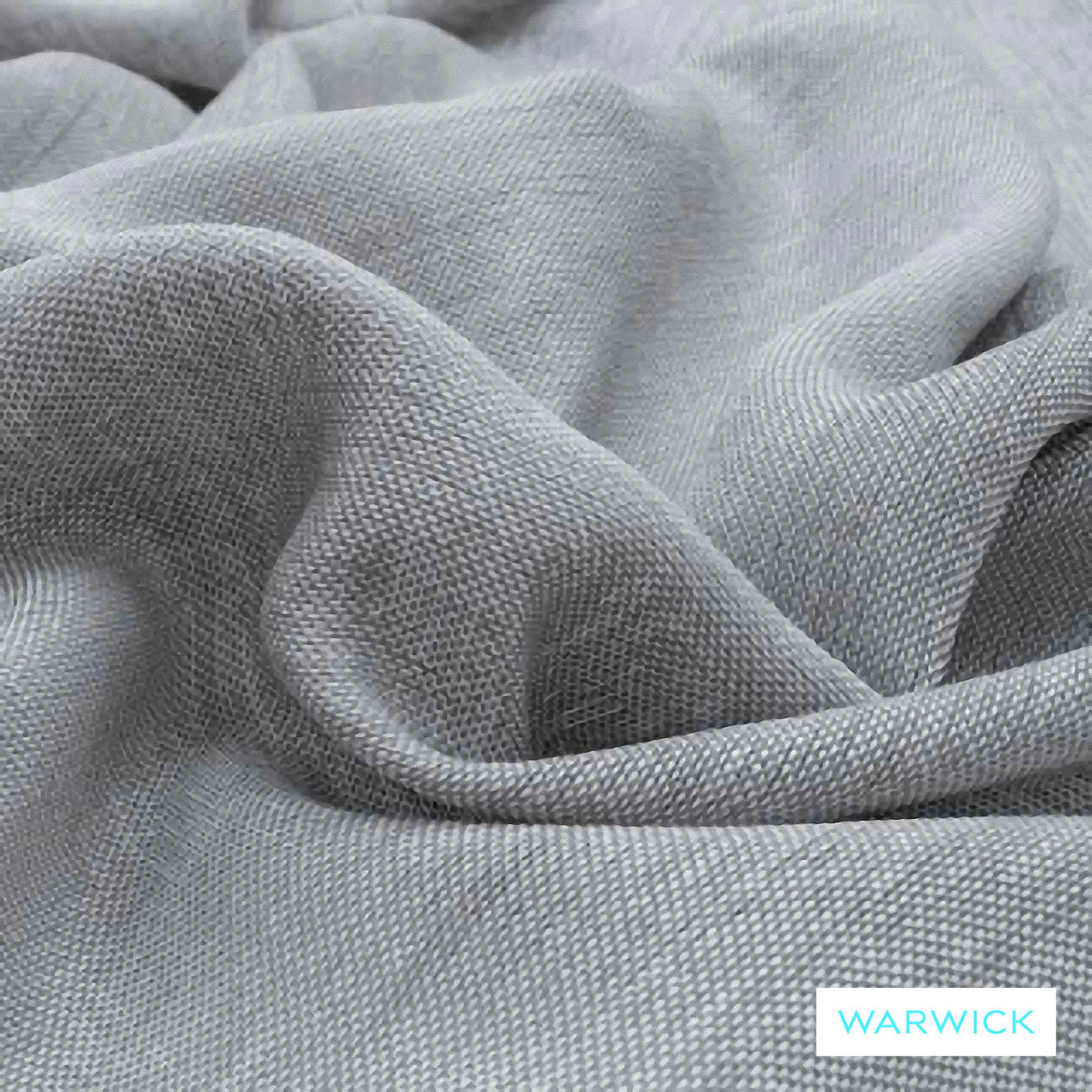 Warwick Chios Asphalt  | Curtain Sheer Fabric - Grey, Plain, Synthetic, Transitional, Washable, Domestic Use, Weighted Hem
