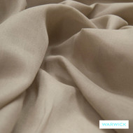 Warwick Chios Kasos Flax  | Curtain Sheer Fabric - Plain, Synthetic, Tan, Taupe, Transitional, Washable, Domestic Use, Natural