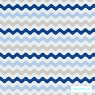 Warwick Coolum Outdoor Merimbula Marine  | Curtain & Upholstery fabric - Blue, Eclectic, Geometric, Outdoor Use, Synthetic fibre, Washable, Domestic Use, Halo