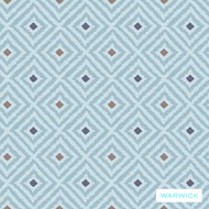 Warwick Denver Colorado (Pnm) Atoll  | Curtain & Upholstery fabric - Australian Made, Blue, Diaper, Foulard, Geometric, Midcentury, Small Scale, Southwestern, Synthetic, Washable, Halo