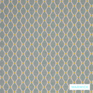 Warwick Ettienne Lazare Aqua  | Upholstery Fabric - Australian Made, Green, Geometric, Mediterranean, Ogee, Transitional, Washable, Domestic Use, Standard Width