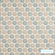 Warwick Frida Greta Aqua  | Upholstery Fabric - Floral, Garden, Foulard, Midcentury, Small Scale, Synthetic, Washable, Domestic Use, Halo, Standard Width