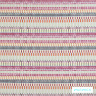 Warwick Frida Tallinn Rose  | Upholstery Fabric - Red, Eclectic, Midcentury, Pink, Purple, Stripe, Synthetic, Washable, Domestic Use, Halo, Standard Width