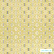 Warwick Jigsaw Sunshine  | Upholstery Fabric - Gold,  Yellow, Contemporary, Diaper, Geometric, Midcentury, Synthetic, Washable, Domestic Use, Halo, Standard Width