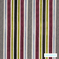 Warwick Laureate Collins Berry  | Upholstery Fabric - Midcentury, Pink, Purple, Stripe, Tan, Taupe, Traditional, Transitional, Washable, Commercial Use, Domestic Use, Retro