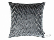 Black Edition  - Rombo 50cm Cushion Storm  | - Black, Blue, Metallic, Eclectic, Geometric, Velvet, Cushion-Covers, Domestic Use, Metal
