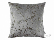 Black Edition  - Marmori 50cm Cushion Zinc  | - Blue, Metallic, Contemporary, Velvet, Abstract, Cushion-Covers, Domestic Use, Metal