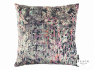 Black Edition - Lombardo 65cm Cushion Zinnia  | - Blue, Contemporary, Damask, Pink, Purple, Velvet/Faux Velvet, Abstract, Domestic Use, Print, Watercolour