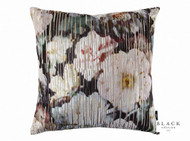 Black Edition  - Herbaria Jacquard 50cm Cushion Malva  | - Black, Contemporary, Deco, Decorative, Floral, Garden, Pink - Purple, Cushion-Covers, Domestic Use, Print