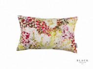 Black Edition - Breathe Cushion - Wild Flower  | - Gold,  Yellow, White, Contemporary, Linen and Linen Look, Pink, Purple, Abstract, Domestic Use, Print, White, Watercolour