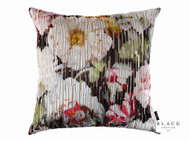 Black Edition  - Herbaria Jacquard 50cm Cushion Cinnabar  | - Black, Red, Contemporary, Deco, Decorative, Floral, Garden, Red, Pink - Purple, Cushion-Covers, Domestic Use