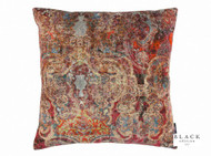 Black Edition  - Maroque 50cm Cushion Cinnabar  | - Brown, Red, Damask, Eclectic, Velvet, Cushion-Covers, Domestic Use, Print