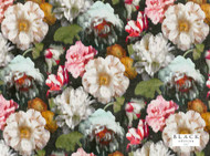 Black Edition  - Herbaria Cinnabar    Curtain & Upholstery fabric - Brown, Green, Red, Contemporary, Fiber blend, Floral, Garden, Velvet, Domestic Use, Dry Clean, Print