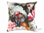 Black Edition  - Herbaria 50cm Cushion Cinnabar  | - Black, Brown, Green, Red, Contemporary, Floral, Garden, Red, Velvet, Cushion-Covers, Domestic Use, Print