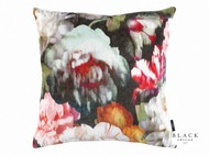 Black Edition - Herbaria 50cm Cushion Cinnabar  | - Brown, Red, Contemporary, Floral, Garden, Velvet/Faux Velvet, Domestic Use, Print, Standard Width, Watercolour