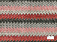Black Edition  - Zenith Cinnabar  | Upholstery Fabric - Blue, Grey, Red, Black - Charcoal, Contemporary, Eclectic, Fiber blend, Geometric, Velvet, Chevron, Zig Zag, Domestic Use, Herringbone