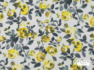 Black Edition - Luiza Mimosa  | Curtain Fabric - Gold,  Yellow, Farmhouse, Floral, Garden, Linen and Linen Look, Natural Fibre, Domestic Use, Natural, Print, Standard Width