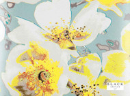 Black Edition  - Eden Wallcovering Daffodil  | Wallpaper, Wallcovering - Black, Blue, Gold - Yellow, Contemporary, Floral, Garden, Turquoise, Teal, Domestic Use, Print