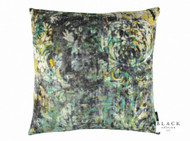 Black Edition - Lombardo 50cm Cushion Peacock  | - Gold,  Yellow, Contemporary, Damask, Velvet/Faux Velvet, Abstract, Domestic Use, Print, Standard Width, Watercolour
