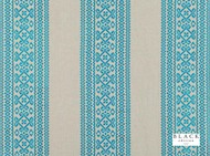 Black Edition  - Safi Moroccan Blue  | Curtain Fabric - Blue, Eclectic, Fiber blend, Geometric, Linen and Linen Look, Stripe, Turquoise, Teal, Domestic Use, Embroidery